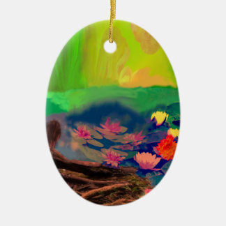 Colors invade the sky, the lilies cover the pond. ceramic ornament
