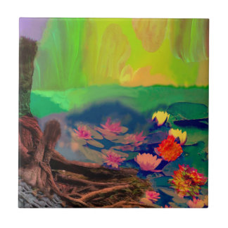 Colors invade the sky, the lilies cover the pond. ceramic tile