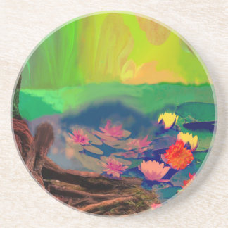Colors invade the sky, the lilies cover the pond. coaster