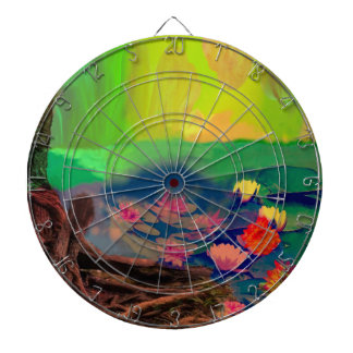 Colors invade the sky, the lilies cover the pond. dartboard