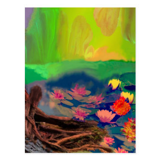 Colors invade the sky, the lilies cover the pond. postcard