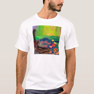 Colors invade the sky, the lilies cover the pond. T-Shirt