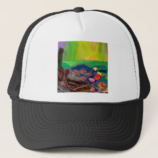 Colors invade the sky, the lilies cover the pond. trucker hat