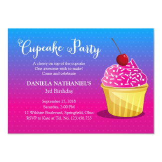 Colors of Bubblegum Cupcake Party Personalized Invitations
