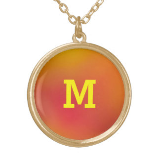 Colors of Fall Monogram Gold Finish Round Necklace
