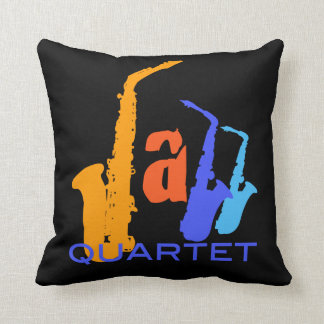 Colors of Jazz Quartet Sax Illustration B Pillow
