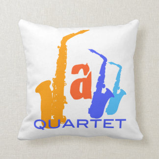 Colors of Jazz Quartet Sax Illustration Pillow
