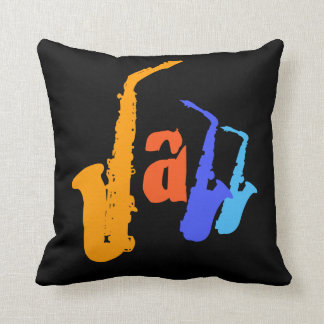 Colors of Jazz Sax Illustration Black Pillow