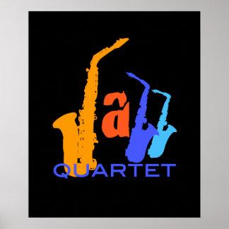 Colors of Jazz Sax Illustration Black Poster 1