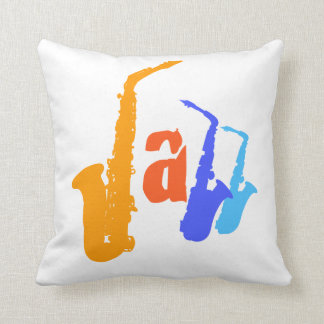 Colors of Jazz Sax Illustration White Pillow