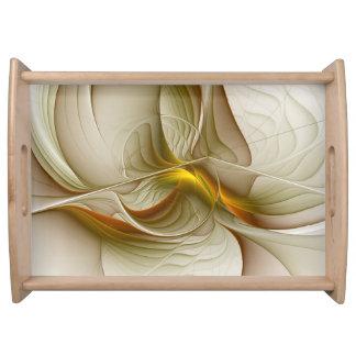 Colors of Precious Metals, Abstract Fractal Art Serving Tray