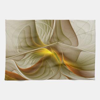 Colors of Precious Metals, Abstract Fractal Art Tea Towel