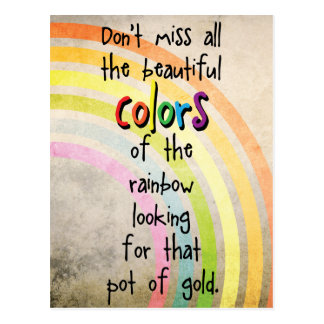 Colors of the rainbow / Pots of gold Cute Quote Postcard