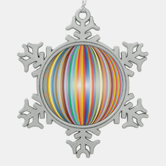 Colors of the Rainbow Snowflake Pewter Christmas Ornament