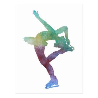Colorwashed Figure Skater Postcard