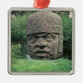Colossal Head Silver-Colored Square Decoration