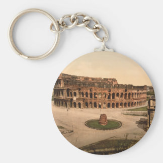 Colosseum and Meta Sudans, Rome, Italy Basic Round Button Key Ring