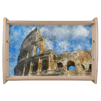 Colosseum in Ancient Rome Italy Serving Tray