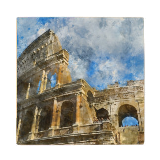 Colosseum in Rome, Italy_ Maple Wood Coaster