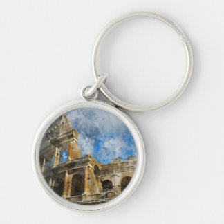 Colosseum in Rome, Italy_ Silver-Colored Round Key Ring