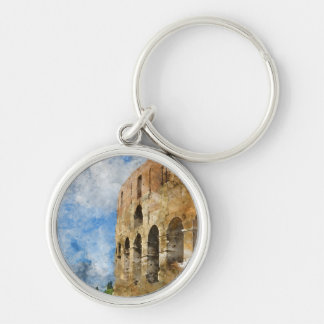 Colosseum in Rome, Italy Silver-Colored Round Key Ring