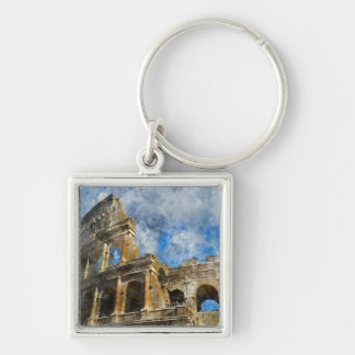 Colosseum in Rome, Italy_ Silver-Colored Square Key Ring