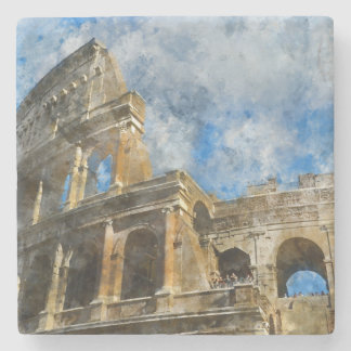 Colosseum in Rome, Italy_ Stone Beverage Coaster