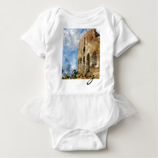 Colosseum in Rome Italy Watercolor Baby Bodysuit