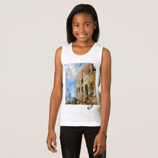 Colosseum in Rome Italy Watercolor Singlet