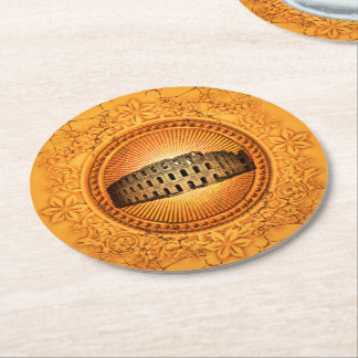 Colosseum on a button with floral elements round paper coaster