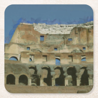 Colosseum painting, Rome Square Paper Coaster