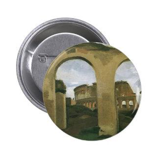 Colosseum Seen through the Arcades Rome Italy Button