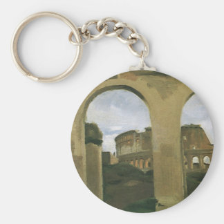 Colosseum Seen through the Arcades, Rome, Italy Basic Round Button Key Ring