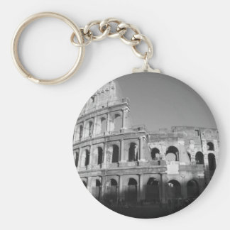 Colossium black and white basic round button key ring
