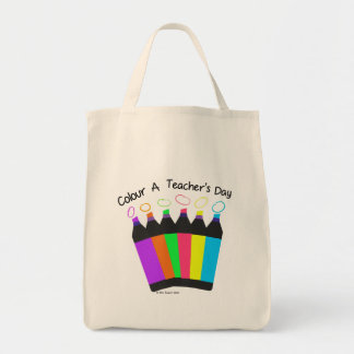 Colour a Teacher's Day grocery tote. Tote Bag