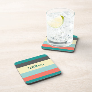 Colour Block Plastic coasters w/cork back
