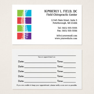 Colour Blocks Spine Chiropractic Appointment Cards