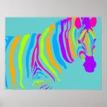 Colour Burst Zebra Posters