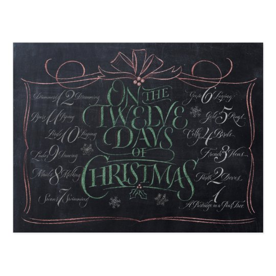 Colour Chalkboard Lettering '12 Days of Christmas' Postcard