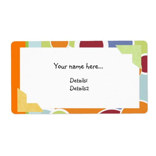 Colour Circles Name Label Shipping Label