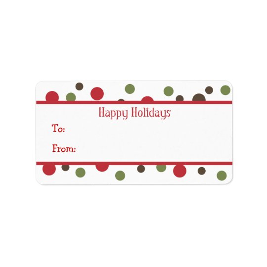 Colour Dots Holiday Gift Tags Address Label