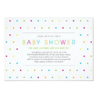 Colour Dots Modern Clean Neutral Baby Shower 13 Cm X 18 Cm Invitation Card