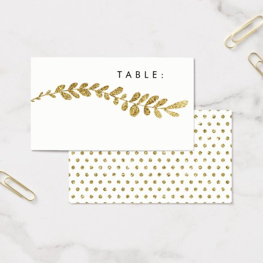 Colour Editable Faux Gold Leaf Wedding Place Card