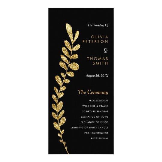 Colour Editable Faux Gold Leaf Wedding Progam Custom Rack Cards