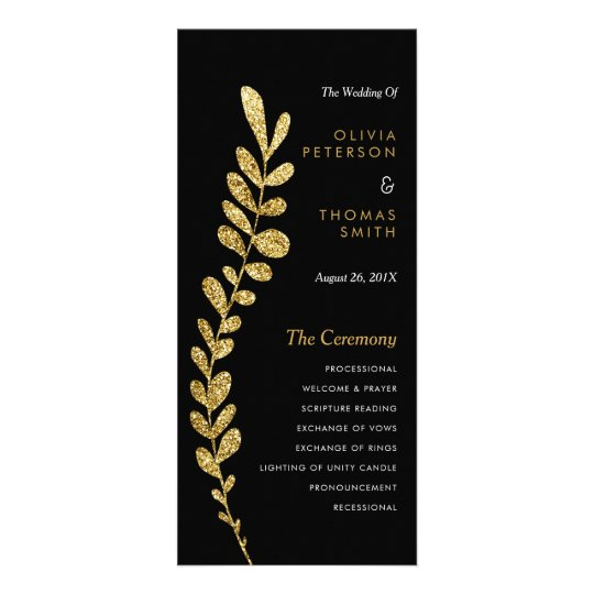 Colour Editable Faux Gold Leaf Wedding Progam Rack Card