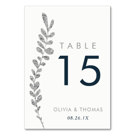 Colour Editable Faux Silver Leaf Table Number Card