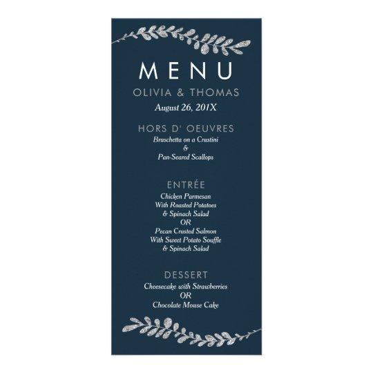 Colour Editable Faux Silver Leaf Wedding Menu Card Custom Rack Cards