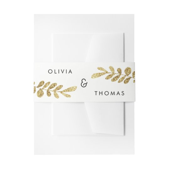 Colour Editable Gold Leaf Wedding Invitation Band Invitation Belly Band