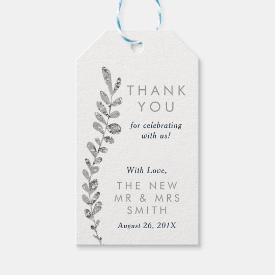 Colour Editable Silver Leaf Thank You Favour Tag