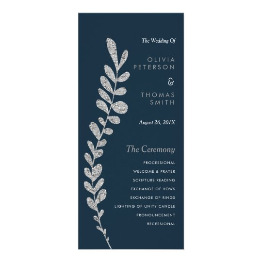 Colour Editable Silver Leaf Wedding Progam Custom Rack Cards